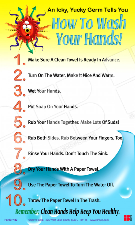 How To Wash Your Hands Poster Brevis