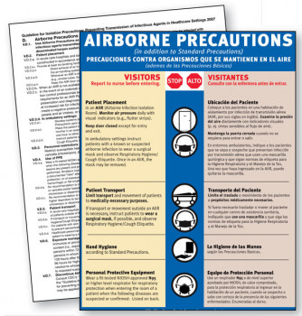 Airborne Precautions Sign, English & Spanish