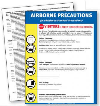 Airborne Precautions, English only, plastic laminated