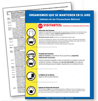 Airborne Precautions Sign in Spanish with plastic lamination
