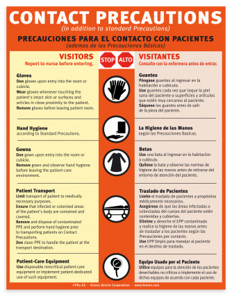 Contact Precautions Sign, English & Spanish