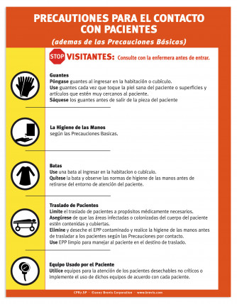 Contact Precautions Sign, Spanish