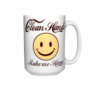 Clean Hands Make Me Happy Mug, 15oz