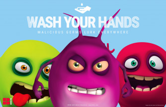 Wash Your Hands Poster, Plastic Laminated