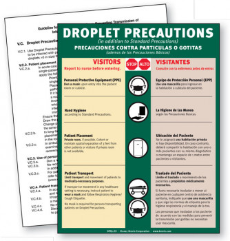 Droplet Precautions Sign, English & Spanish