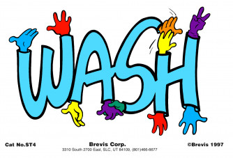 WASH Stickers with removable backing.