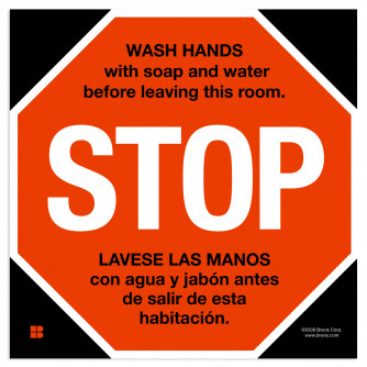 STOP Sign Wash Hands in English/Spanish
