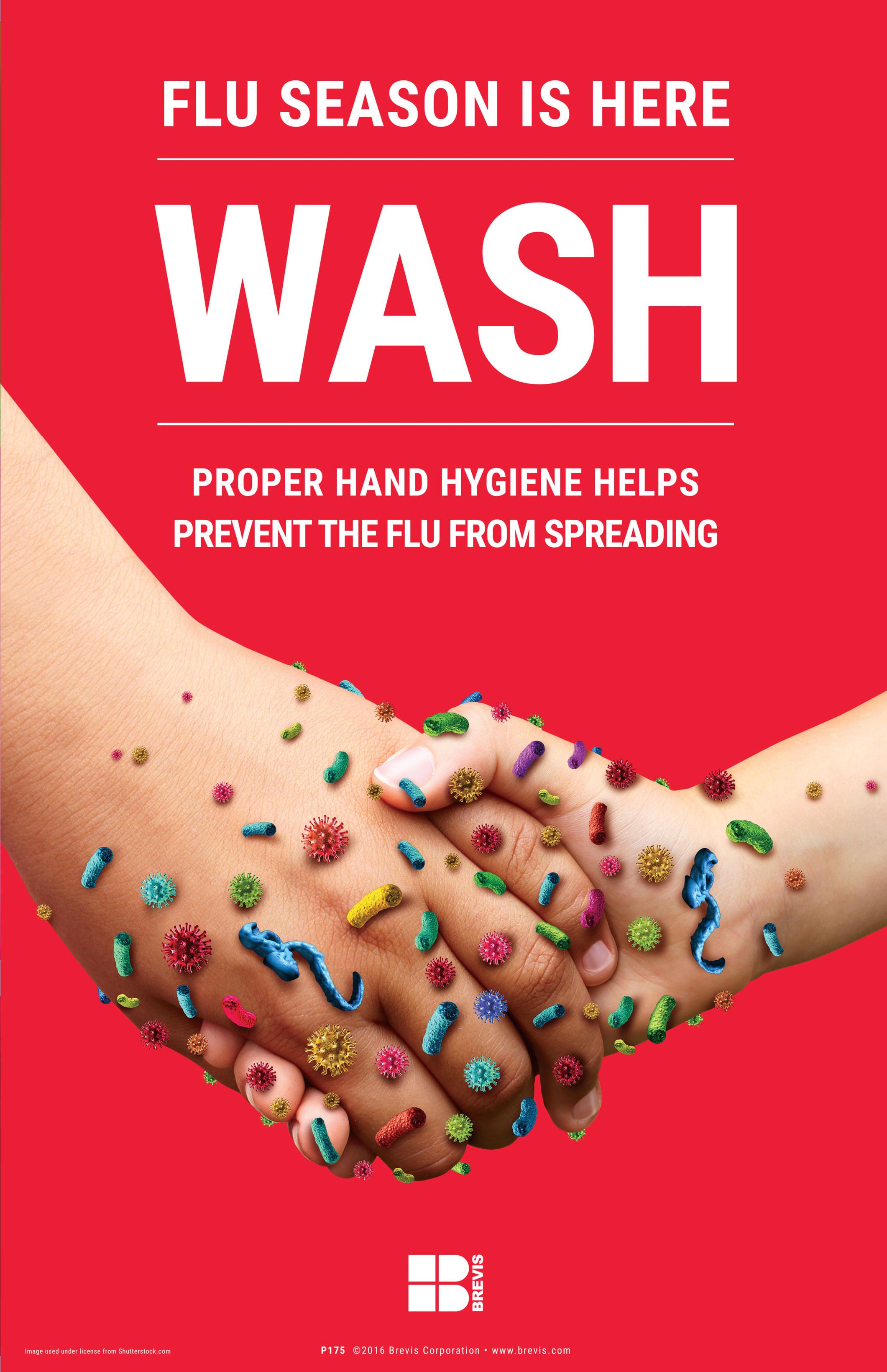 Wash Hand Hygiene Prevents Flu Poster 11x17 Brevis