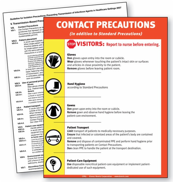 Isolation Precautions Signs Cpr7 Contact Precautions Sign
