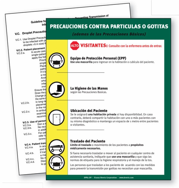 Dpr7 sp pl droplet precautions spanish plastic laminated